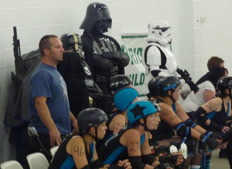 The Redneck Betties had some pretty impressive body guards during their last bout against the Gapland Rollers - not that they need them!
