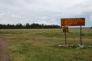 The sign that leads you to the West Block campgrounds (including the Equestrian campground).