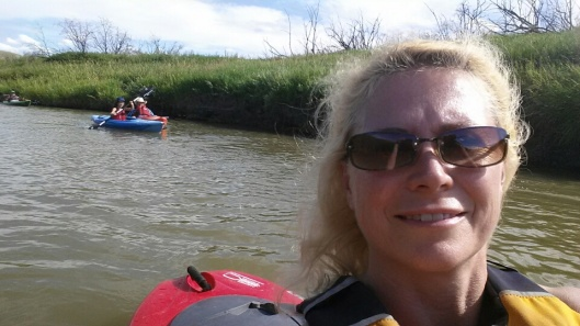 mom and daughter kayaking selfie at Grasslands National Park's Sleep Under the Stars Party